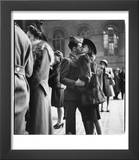 Couple in Penn Station Sharing Farewell Kiss Before He Ships Off to War During WWII