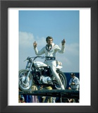 Motorcycle Daredevil Evel Knievel Poised on His Harley Davidson