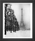 Heavy Snow Blankets the Ground Near the Eiffel Tower