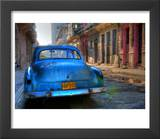 Blue Car in Havana  Cuba  Caribbean