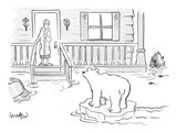 A Woman in her bathrobe steps out on her porch to see a flood surrounding … - New Yorker Cartoon