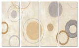 Aqua Circle on Beige Triptych Art