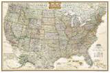 National Geographic - United States Executive  poster size Map Laminated Poster