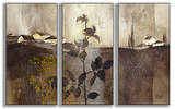 Champagne Gold Foil Triptych Art