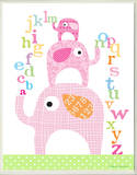 Girl's ABC Pink Elephants Rectangle
