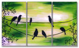 Birds On Wires Green Triptych Art