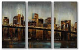 Lights on Bridge Triptych Art
