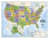 National Geographic - Kids Political USA Education Map (Grades 4-12) Giant Laminated Poster
