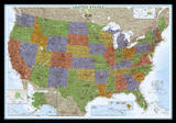 National Geographic - United States Decorator Map  Enlarged & Laminated Poster