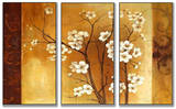 White Floral Crimson Back Triptych Art