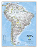National Geographic - South America Classic Map  Enlarged & Laminated Poster