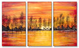 Deer at Sunset Triptych Art