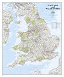 National Geographic - England and Wales Classic Map Laminated Poster