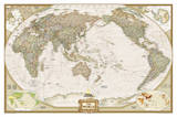 National Geographic - World Executive  Pacific Centered Map Laminated Poster
