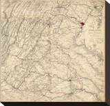 Civil War Map Showing Grant's Campaign and Marches through Central Virginia  c1865