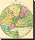 Map of the Country Twenty Five Miles Round the City of New York  c1848