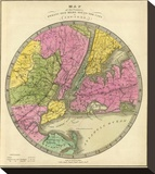 Map of the Country Twenty Five Miles Round the City of New York  c1840