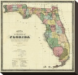 New Map of the State of Florida  c1870