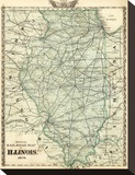Official Railroad Map of the State of Illinois  c1876