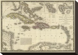 Iles Antilles ou des Indes Occidentales  c1828