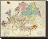 Geological Map of Europe  c1856