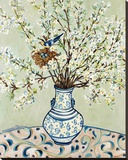 Blue and White Vase with Bird
