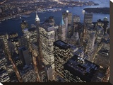 Night aerial view of the Financial District  NYC