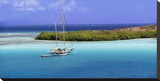 Sailboat at anchor  Island of Culebra  Puerto Rico