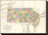 Map of New Jersey and Pennsylvania  c1839
