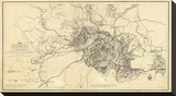 Civil War Map Illustrating the Siege of Atlanta  Georgia  c1864
