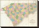 Map of North and South Carolina  c1839