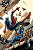 Spectacular Spider-Man No16 Cover: Spider-Man and Captain America Fighting