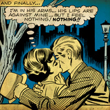 Marvel Comics Retro: Love Comic Panel  Kissing in the Park (aged)