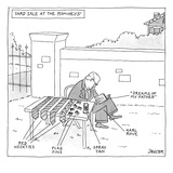Yard sale at the Romney's features Karl Rove at a table selling away Gover… - New Yorker Cartoon