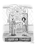 A Canadian stand-off satirizes the  politeness of Canadians  as a man and … - New Yorker Cartoon