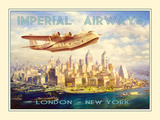 Imperial Airways - London to New York Papier Photo par The Vintage Collection