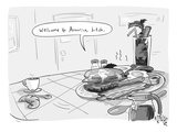 A greasy plate of pancakes  bacon  and eggs speaks to a cup of coffee  ban… - New Yorker Cartoon