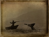 A Whale Hunter in a Small Boat