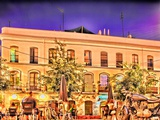 Alaneda De Hercules Square by Night  Seville  Spain Digital Illustration
