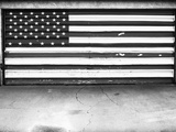 Patriotic American Flag Garage Door  Albuquerque  New Mexico  Black and White