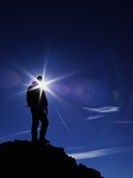 Colorado Hiker Silhouette with Lens Flare and Blue Sky