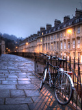 Night Winter Street Scene in Bath  Somerset  England