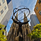 Atlas Sculpture and St Patrick's Cathedral  Manhattan  New York