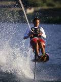 Young Male Water Skier in Action