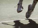 Detail of Ivan Lendl's (USA) Feet During a Serve at the 1987 US Open Tennis Championships