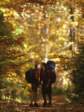Couple Kissing on the Trail During a Hike