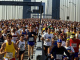 Runners Crossing the Verranzano Bridge at the Start of the 1987 NYC Marathon
