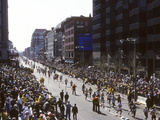 Finishers on Boyleston Street at the 1990 Boston Marathon