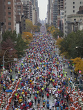 Runners Competing on First Avenue During 2009 New York City Marathon
