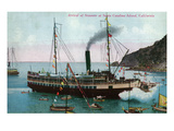 Santa Catalina Island  California - Steamer Ship Arriving at Island